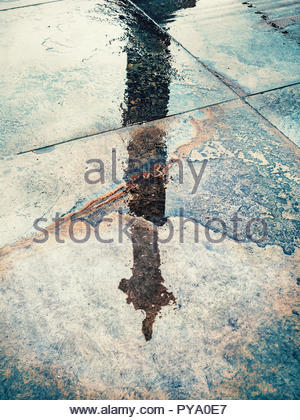 Reflection of couple in wet pavement front of Nelson's Column_ Traflagar Square_ London_ UK - Stock Photo