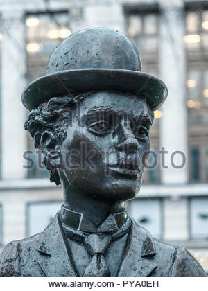 London,England/UK - March 3rd 2018: Statue of Charlie Chaplin in Leicester Square, London, UK. Created by the sculptor John Doubleday in 1979 - Stock Photo