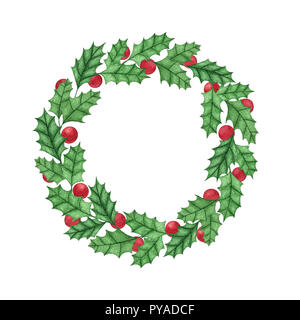 Hand painted christmas holly wreath with berries isolated on the white background. New Year  decoration for holiday cards, labels and banners. - Stock Photo
