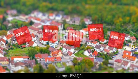 Rental prices on a town - Stock Photo