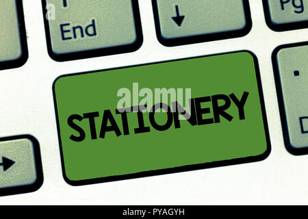 Text sign showing Stationery. Conceptual photo Writing Office Supplies papers envelopes pens pencils markers. - Stock Photo