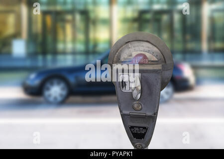 Retro parking meter with time isolated on white background. - Stock Photo