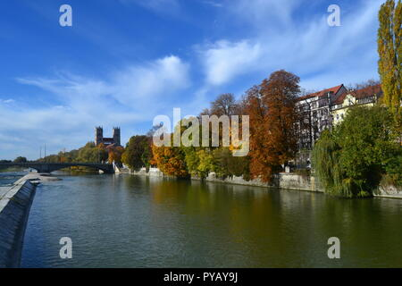 The scene from Reichenbachbrücke bridge over Isar river, Munich, Germany. St. Maximilian church appears in the view. - Stock Photo