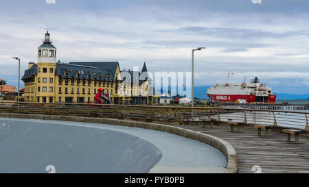 Puerto Natales, Chile - Gulf Almirante Montt, the Pacific Ocean waters in Chilean Patagonia,  magallanes region - Stock Photo