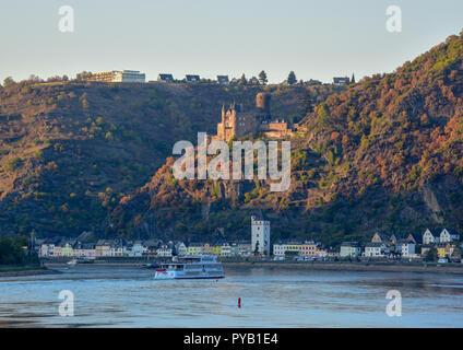 Burg Katz castle above St Goarshausen at sunset, autumn, Rhine valley - Stock Photo