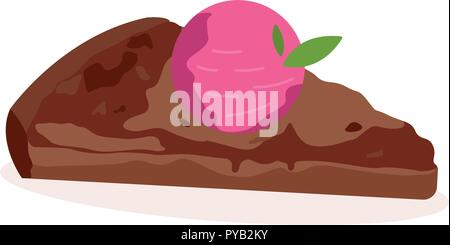 Cake with strawberry in chocolate, detailed vector - Stock Photo