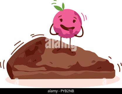 Cute cake cartoon character isolated on white background vector logo - Stock Photo