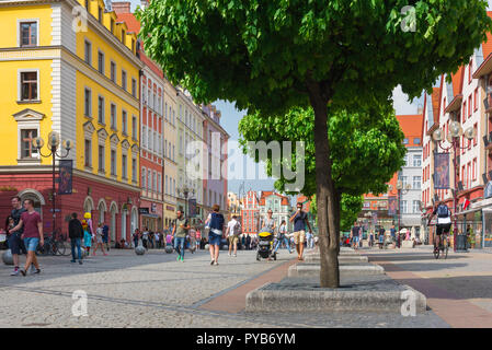 Wroclaw Poland, view in summer of Swidnicka Street in the Old Town quarter of Wroclaw, Poland. - Stock Photo
