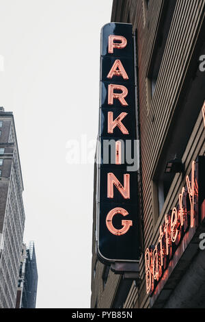 New York, USA - May 31, 2018: Neon sign outside Battery Parking Garage in Battery Park, an area located at the southern tip of Manhattan Island in New - Stock Photo