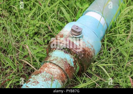 water valve  broken plumbing tube and  leak at  wait repair plumber - Stock Photo