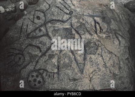 Writing Rock, Native American petroglyphs on granite, northwestern North Dakota. Photograph - Stock Photo