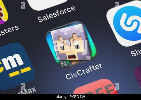 London, United Kingdom - October 26, 2018: Close-up shot of the CivCrafter application icon from Naquatic LLC on an iPhone. - Stock Photo
