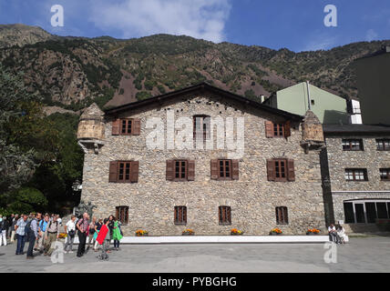 Andorra La Vella, Andorra. 18th Sep, 2018. Andorra la Vella, capital of the Andorra, located in the Pyrenees - the Casa de la Vall, built in 1580, was formerly the parliamentary seat, added on 18.09.2018 | usage worldwide Credit: dpa/Alamy Live News - Stock Photo