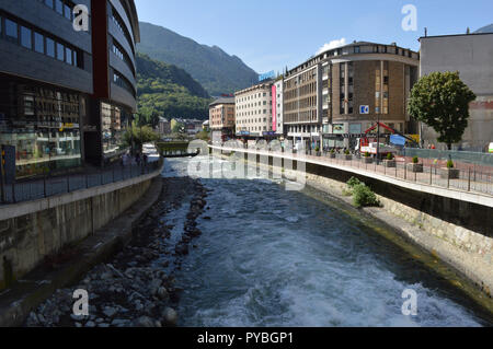 Andorra La Vella, Andorra. 18th Sep, 2018. Andorra la Vella, capital of the Andorra in the Pyrenees - through the city flows the Riu Valira, added on 18.09.2018 | usage worldwide Credit: dpa/Alamy Live News - Stock Photo