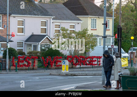 Amesbury, Wiltshire, UK. 26th Oct 2018. A floral poppy tribute by the local branch of British Legion has appeared on a roundabout in the centre of Amesbury, Wiltshire, the floral tribute spells out the words Lest We Forget. WW1 100 Years. Credit: Mark Clemas Photography/Alamy Live News - Stock Photo