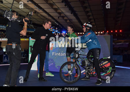 London, UK. 27th October 2018. Fintan Ryan (IRL) winner of the Derny Final during Six Day London 2018 at Lee Valley Velopark, Queen Elizabeth Olympic Park on Friday, 26 October 2018. LONDON ENGLAND.  (Editorial use only, license required for commercial use. No use in betting, games or a single club/league/player publications.) - Stock Photo