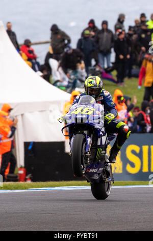 Melbourne, Australia. 27 October 2018.: Who else but Rossi during qualifying at the 2018 Michelin Australian Motorcycle Grand Prix , Australia on October 27 2018. Credit: Dave Hewison Sports/Alamy Live News - Stock Photo