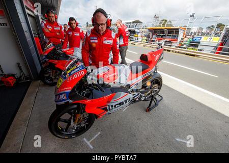 Melbourne, Australia. 27 October, 2018. Phillip Island, Australia. The Ducati MotoGP Team bikes in pit lane prior to the start of free practice 3. Credit: Russell Hunter/Alamy Live News - Stock Photo