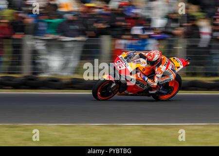 Melbourne, Australia. 27 October, 2018. Phillip Island, Australia. Qualifying. Marc Marquez, Repsol Honda MotoGP Team. Marquez qualified on pole for Sunday's race. Credit: Russell Hunter/Alamy Live News - Stock Photo