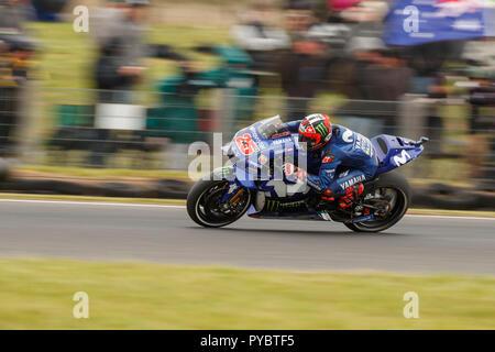 Melbourne, Australia. 27 October, 2018. Phillip Island, Australia. Qualifying. Maverick Vinales, Movistar Yamaha MotoGP Team. Second fastest overall. Credit: Russell Hunter/Alamy Live News - Stock Photo