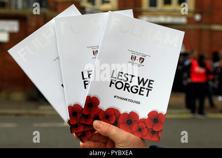 London, UK. 27th Oct, 2018. Fulham Match day Programmes are held up for sale. Premier League match, Fulham v AFC Bournemouth at Craven Cottage in London on Saturday 27th October 2018.  this image may only be used for Editorial purposes. Editorial use only, license required for commercial use. No use in betting, games or a single club/league/player publications. pic by Steffan Bowen/Andrew Orchard sports photography/Alamy Live news Credit: Andrew Orchard sports photography/Alamy Live News - Stock Photo