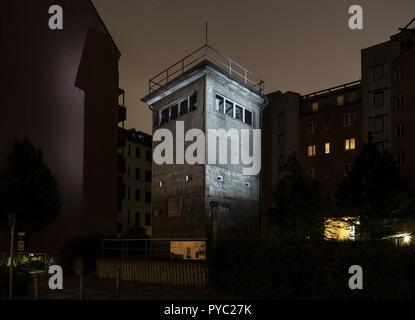 24.06.2018, Germany Berlin: The original GDR watchtower of the Berlin Wall at the Günter Litfin Memorial. Günter Litfin Litfin was the first victim to be killed by East German border troops, the first to succumb to gunshot wounds, and was the first male   usage worldwide - Stock Photo