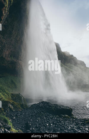 Waterfall Seljalandsfoss in Iceland - Stock Photo