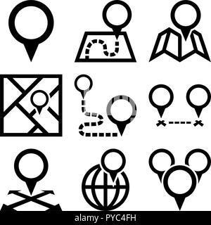 Circle maps pins - Stock Photo