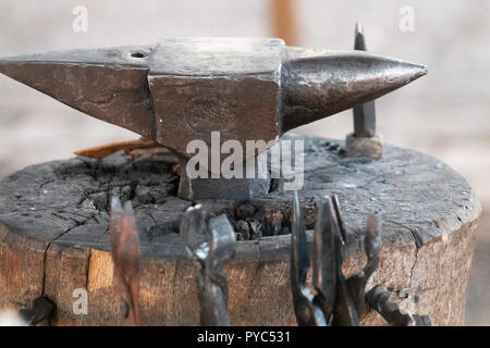Close up view of a blacksmith medieval metal anvil tool