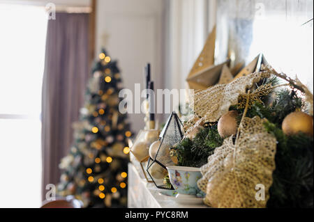New Year's interior decoration. room in a festive style with New Year mood elements - Stock Photo