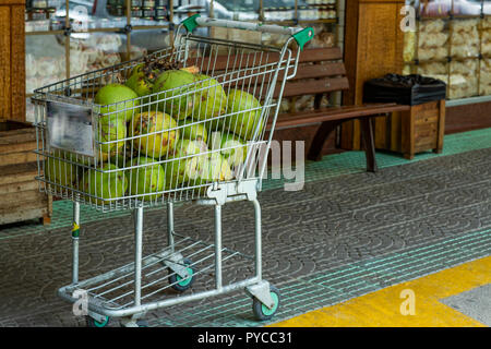 Green coconut. Pile of Green coconuts water for sale in the Market. - Stock Photo