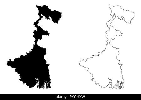 West Bengal (States and union territories of India, Federated states, Republic of India) map vector illustration, scribble sketch West Bengal state ma - Stock Photo