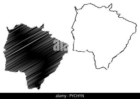 Mato Grosso do Sul (Region of Brazil, Federated state, Federative Republic of Brazil) map vector illustration, scribble sketch Mato Grosso do Sul map - Stock Photo