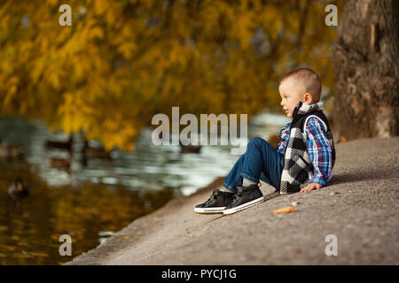 A little boy is sitting on a rock next to the lake during a walk in the park against the background of the yellow autumn trees and floating ducks. - Stock Photo