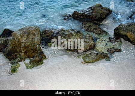 Rocks, moss and tide - Stock Photo