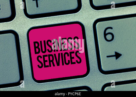 Writing note showing Business Services. Business photo showcasing Provides intangible products Bookkeeping IT Accounting. - Stock Photo