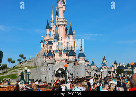 Marne-la-Vallée, France - October 13, 2018: Sleeping Beauty Castle At Disneyland Paris (Euro Disney), Crowd Of People, Marne-la-Vallée, Île-de-France, - Stock Photo