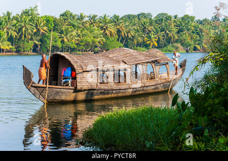 Kochi, Kerala, India - January 12, 2015: Backwaters in Kerala is a network of 1500 km of canals both manmade and natural, 38 rivers and 5 big lakes ex - Stock Photo