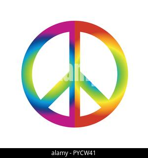 colorful peace sign symbol in rainbow colors isolated on white background vector illustration EPS10 - Stock Photo