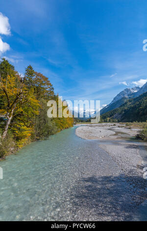 Risstal or Riss Valley, Rissbach or Rissriver, Hinterriss, Vomp, Karwendel Mountains, Alps, Tyrol, Austria, Europe - Stock Photo