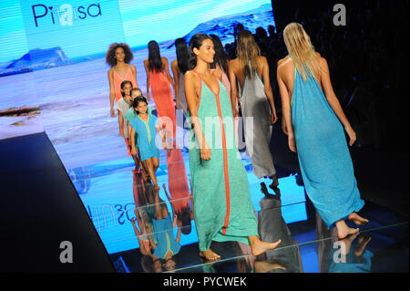 MIAMI BEACH, FL - JULY 15: Models walk the runway finale for Pitusa during the Paraiso Fasion Fair at The Paraiso Tent on July 15, 2018 in Miami Beach - Stock Photo