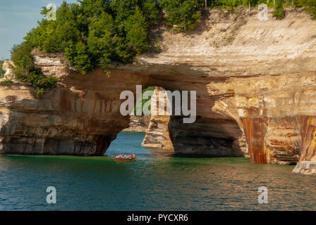 Pictured Rocks National Lakeshore hugs the south shore of Lake