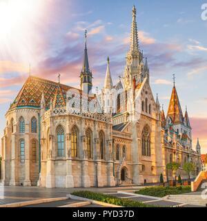 St. Matthias Church's in the Fisherman's Bastion, Budapest, Hungary - Stock Photo