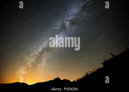 Milky Way at Pyrenees Mountains in Navarra, Spain - Stock Photo