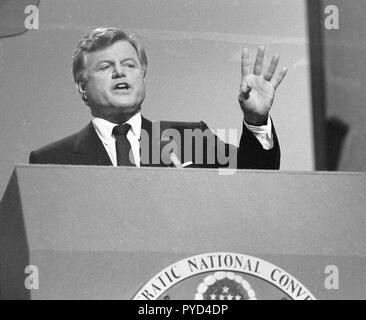 Massachusetts, US Senator Edward Kennedy speaking at the 1984 Democratic Party Convention at Moscone Center in San Francisco, California - Stock Photo