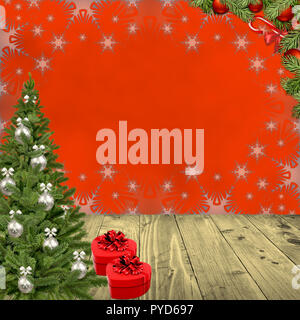 Christmas and New Year red background - Stock Photo
