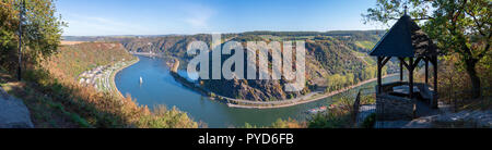 Panoramic view of Loreley taken from Maria Ruh viewpoint above Rhine in autumn, Germany - Stock Photo