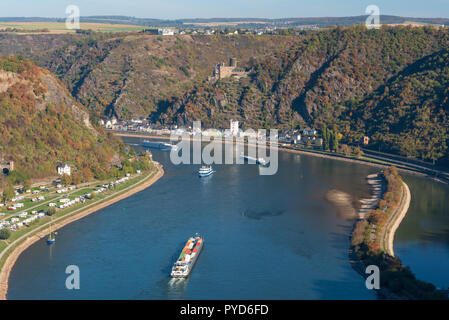 Rock of the Loreley, Rhine valley in autumn - Stock Photo
