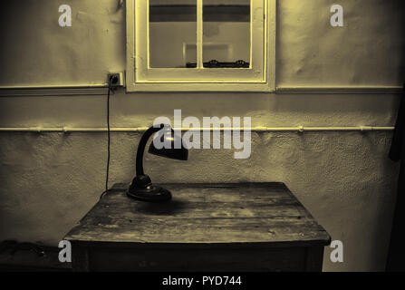 Old lamp on table, studio table detail - Stock Photo
