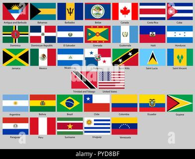 Vector illustration of different countries flags set. All flags North and South America - Stock Photo